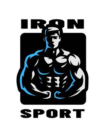Iron sport. Bodybuilding. Athlete silhouette logo, emblem. Vector illustration.