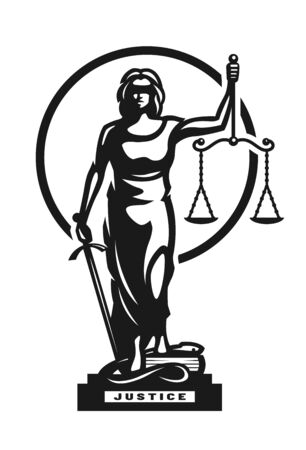 The goddess of justice Themis symbol, logo. Vector illustration. Logo
