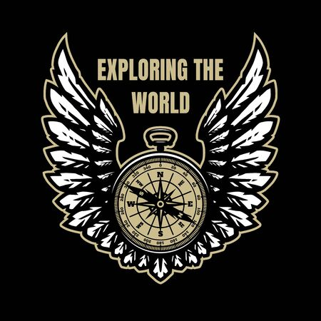 Exploring the world. Compass and wings, sign, symbol on a dark background. Vector illustration.