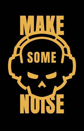 Skull in headphones, make some noise. Sign, logo on a dark background. Vector illustration. Standard-Bild - 136545560