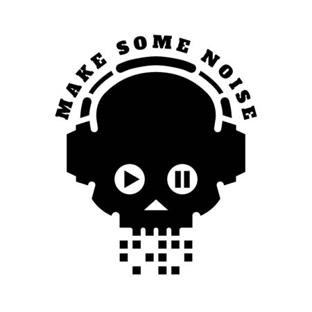 Skull in headphones, make some noise. Sign logo