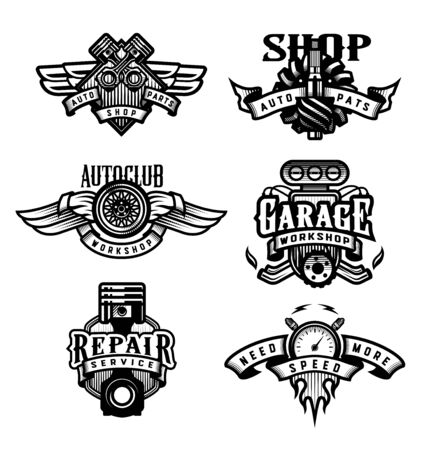 Set of vintage monochrome auto emblems, badges, logos. Vector illustration.