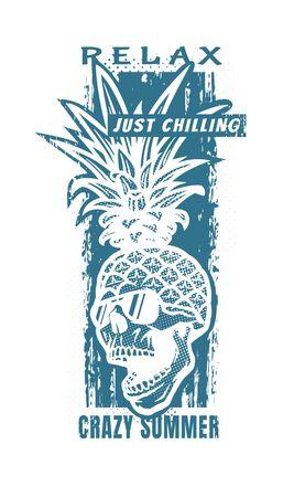 Pineapple skull, tee shirt graphics. Vector illustration.