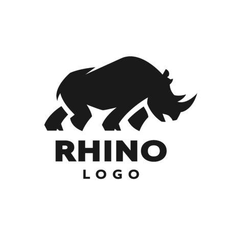 African rhino silhouette. symbol. Vector illustration.