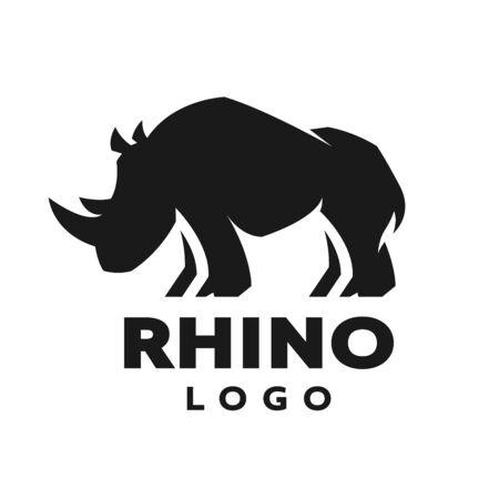 African rhino silhouette. symbol. Vector illustration. Vektorové ilustrace
