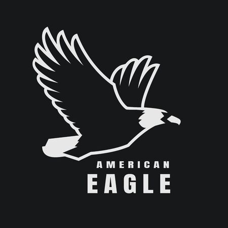 American eagle. Flying bird , simbol on a dark background. Vector illustration.