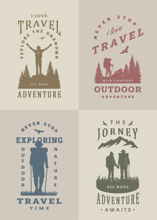 Set of black and white emblems, t-shirt design on the theme of travel. Vector illustration. Иллюстрация