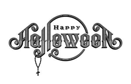 Halloween vintage font. Emblem in the old style.