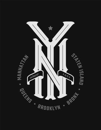 New York city emblem, vintage style on a dark background. Vector illustration.