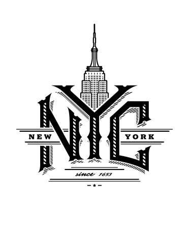 NYC letters and Empire State Building. New York city logo, emblem, vintage style. Vector illustration.