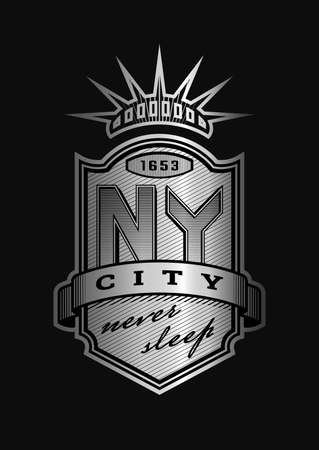 New York city emblem, vintage style on a dark background. Vector illustration.