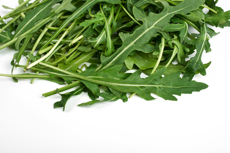green fresh ruccola isolated on white background, close up studio shot