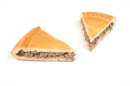 meat pie with a beef, isolated on white background Imagens