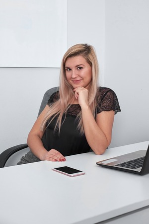 cute young office worker in office
