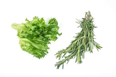 fresh, green salad isolated on white background