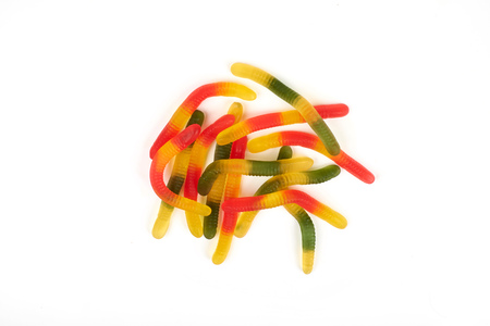 gummy jelly worm candy on a white background.