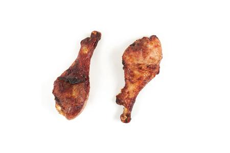 roasted turkey leg isolated on white background.