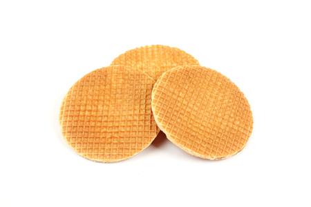 Round ruddy waffle isolated on white background Stockfoto