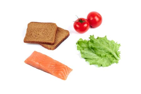 set of products for a delicious breakfast. Red fish, fresh vegetables, tomatoes, bread,. Isolated on white background,