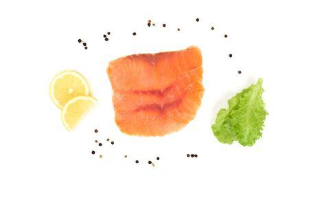 Fresh salmon fillet on the white background.