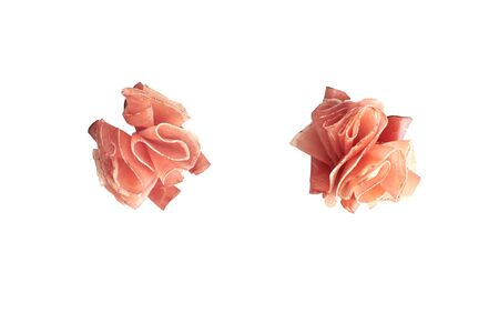 Italian prosciutto or jamon. Isolated on white background