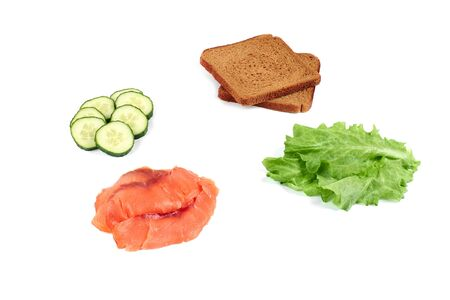 product set. Salmon, fresh vegetables, tomatoes, bread Isolated on white background Stok Fotoğraf