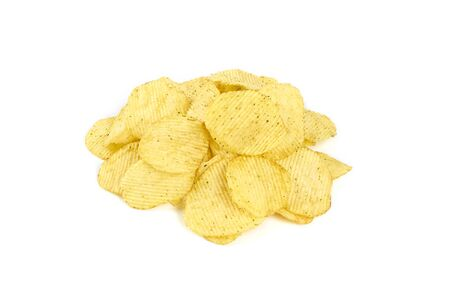 Pile of yellow potato chips isolated on white background.