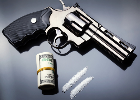 Money, drug and gun Stock Photo