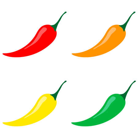 Set of hot chilli peppers. Vector illustration in flat style. Red, green, orange and yellow pepper.