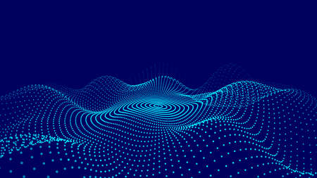 Big data stream. Abstract wave with moving dots. Flow of particles. Cyber technology illustration.