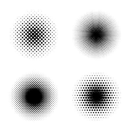 Set of black halftone circles. Pop art texture made of spots. Round dots gradient. Vector illustration.