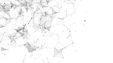 Abstract background with moving dots and lines. Network connection structure. Futuristic illustration. Digital technology design. Vector Illustratie