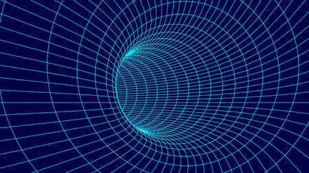 Futuristic funnel. Wireframe space travel tunnel. Abstract blue wormhole with surface warp.