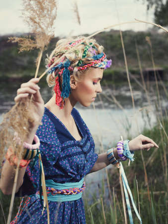 belonging to the caucasoid race: girl on the nature Stock Photo