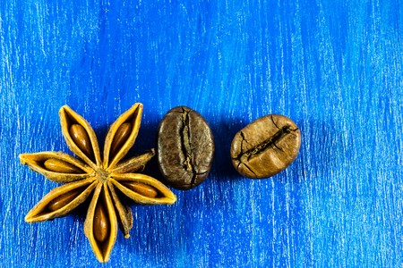 badiane: Star anise with coffee beans on wooden background