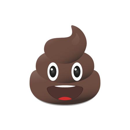 Shit emoji. Poo emoticon. Poop emoji face isolated 일러스트