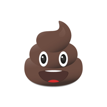 Shit emoji. Poo emoticon. Poop emoji face isolated Çizim