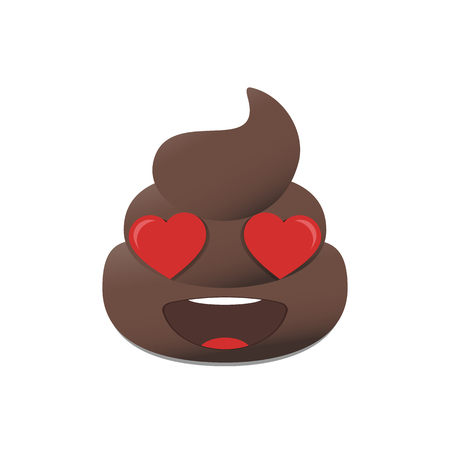 Shit emoji. Poo emoticon. Poop emoji face isolated Illustration