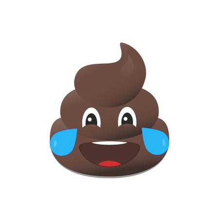 Shit emoji. Poo emoticon. Poop emoji face isolated Illustration