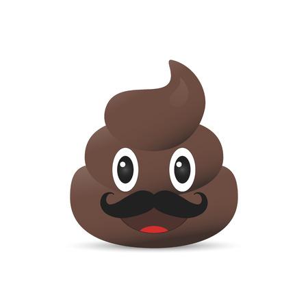 feces: Shit emoji. Poo emoticon. Poop emoji face isolated Stock Photo