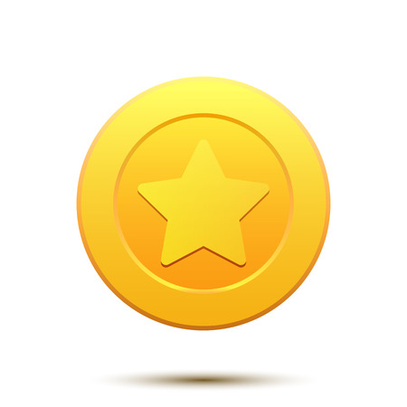 golden star: Illustration of golden coin with Star symbol