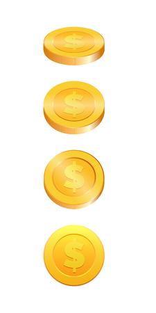 Ilustración 3D de monedas de oro. Moneda de oro en cuatro formas diferentes