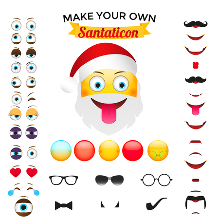 creator: Make Your Own Santaticon. Library with custom characters parts Illustration
