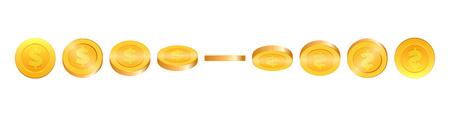 Ilustração das moedas de ouro 3d. Moeda de ouro em diferentes formas