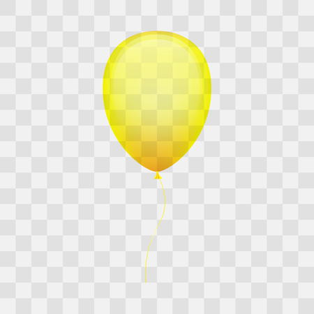latex: Colorful shiny yellow ballon on transparent background. Illustration