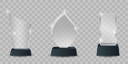 Transparent crystal trophys. illustration of shiny awards