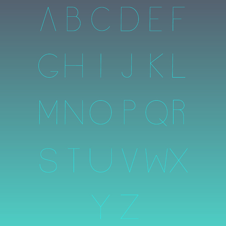 deficient: Typographic alphabet in a set. Linear modern lettering Illustration