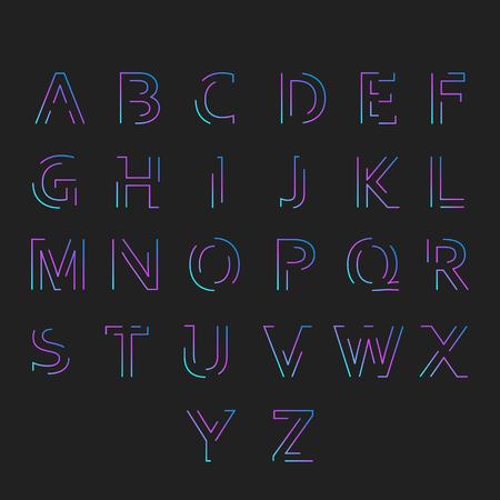 all caps: Typographic alphabet in a set. All caps letters with vibrant gradient