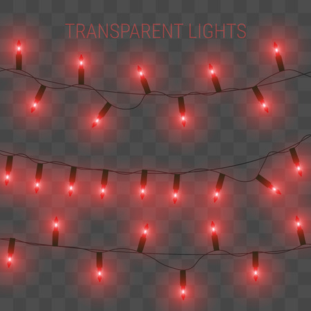 Vector illustration of garland with bright lights. Transparent glowing light bulbs Stock Illustratie