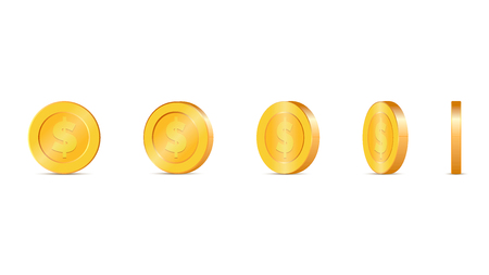 3d Gold coins vector illustration. Gold coin in five different shapes Illustration